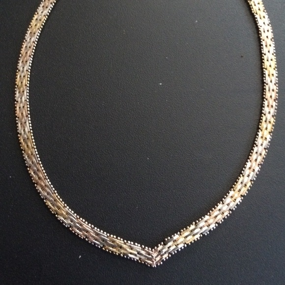 Jewelry Silver Tricolor Gold Plated Necklace Italy 925 Poshmark