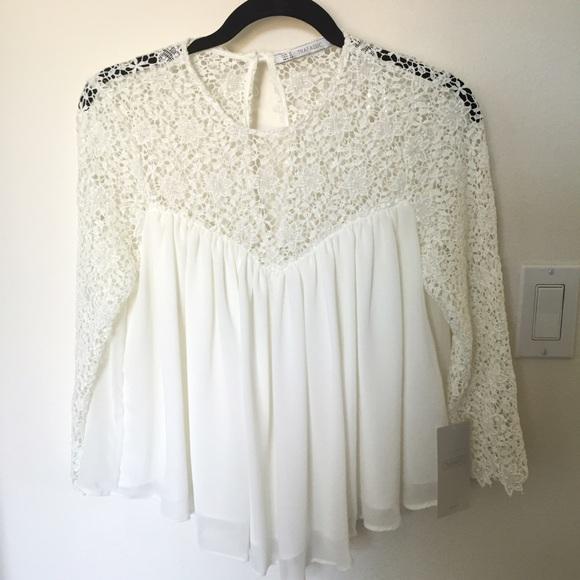 3a09ade48161e NWT Zara romantic white lace blouse