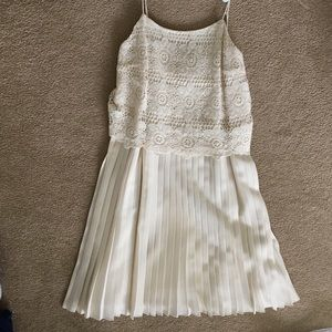 Kensie Lace and Pleated Ivory Dress