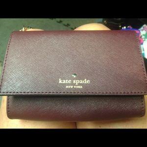 Burgundy small Kate spade Crossbody wallet purse