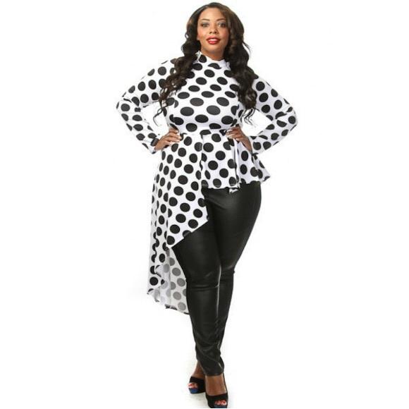 head2toez apparel - plus size polka dot side cascade peplum top