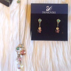 Swarovski Jewelry - Swarovski Flower necklace and matching earrings