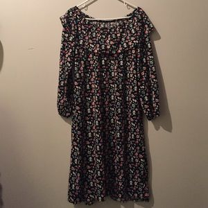 VINTAGE 70's Black & Floral Off Shoulder Dress