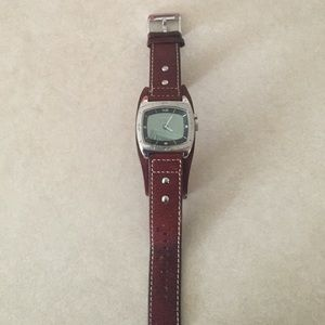 Leather strap men's fossil watch