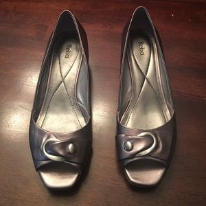 Reba Shoes - Pewter wedge open toed shoes