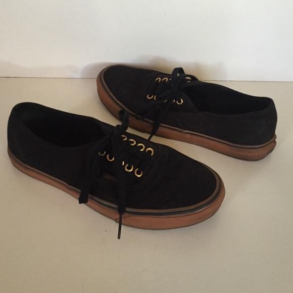 443e6736d0b606 Black dark brown rubber sole gold rivet VANS 9.5. M 577c4e322599fe7763011080
