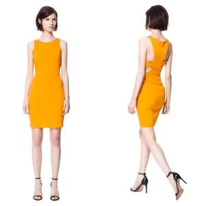 Zara Fitted Orange Dress with cut out detail