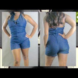 Pants - Rich dark denim jean blue halter short romper S