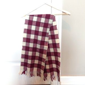 Accessories - Burgundy and cream checkered wool cashmere scarf