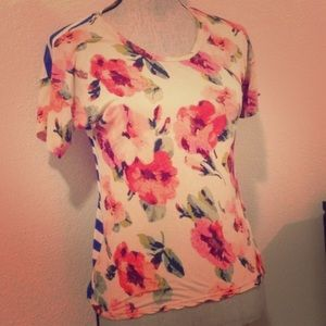 Madewell floral and stripe t shirt top