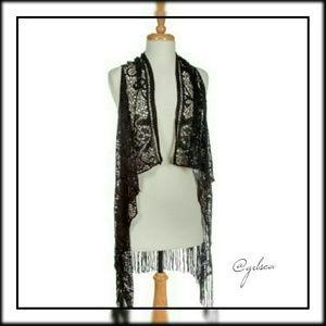 Black crochet cardigan vest