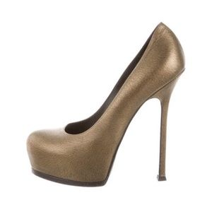 Yves Saint Laurent Tribute Gold Metallic leather