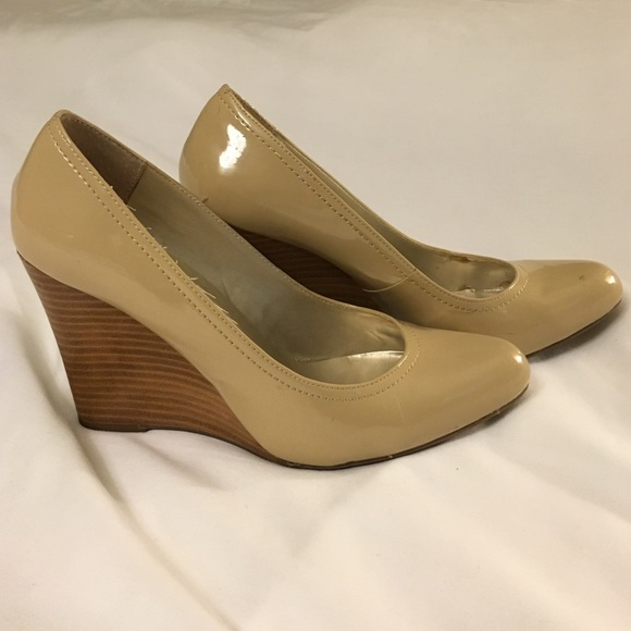 24b6c98999 Max Studio nude wedge with wooden heel. M_577c62b19818292caa09f253