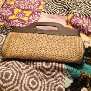 Brown and cream clutch