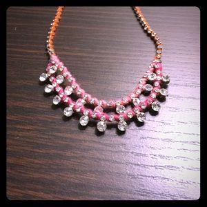 Pink, orange and rhinestone GAP necklace.