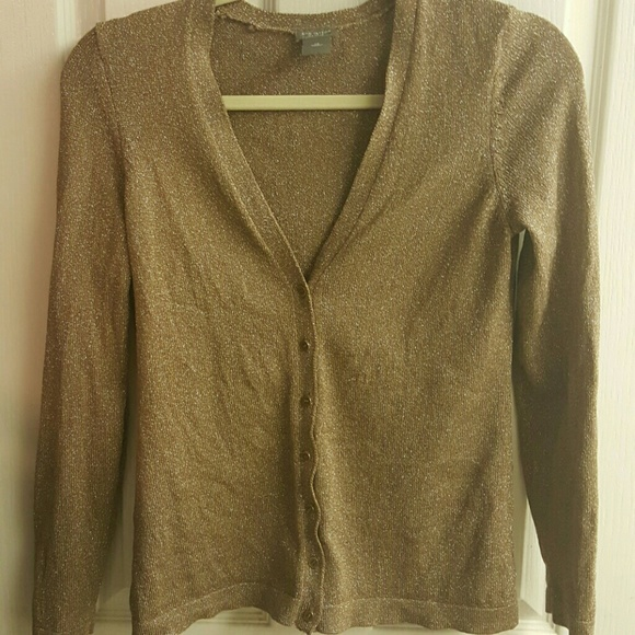 71% off Ann Taylor Sweaters - Shimmery gold shiny cardigan sweater ...