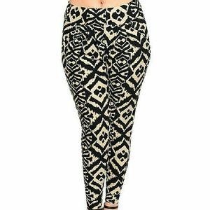 Pants - Black and khaki Aztec print pants Slim, stretch
