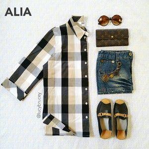 alia Tops - 🌟HP🌟Alia Chess Relaxed Blouse 3/4 Sleeves 8