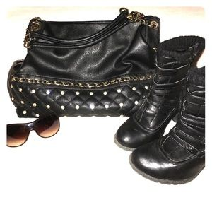 Black faux leather handbag w/ gold handle NWOT