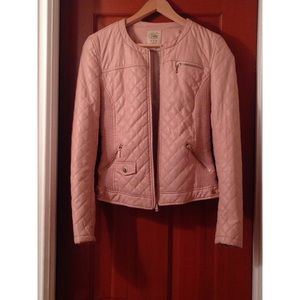Zara quilted pink faux leather jacket Medium