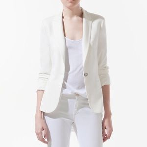 Zara printed white blazer