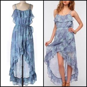 Urban Outfitters Ruffle Hi Low Maxi Chiffon Dress