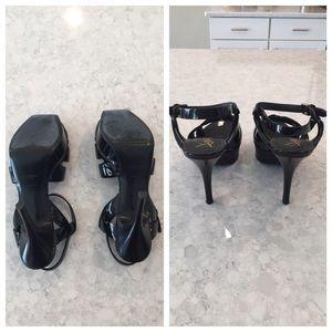 dfb25229bc4 Yves Saint Laurent Shoes - YSL Black Patent Leather Tribute 75 Sandal 38 (8)
