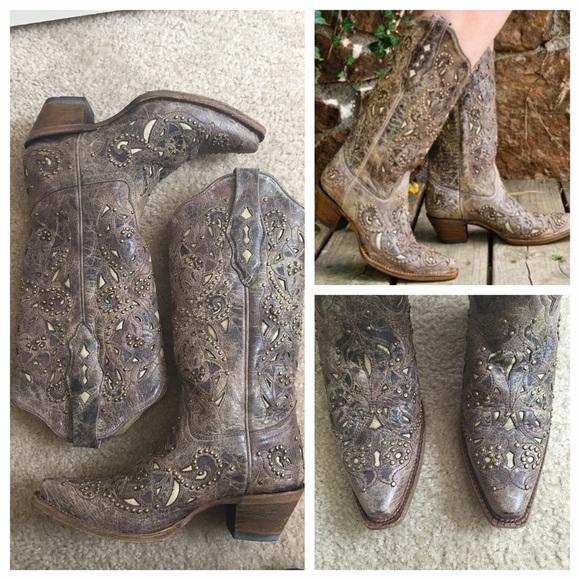 1545b21dcab Corral A1098 bone inlay studded cowboy boot brown