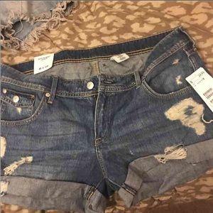 Regular waist denim shorts