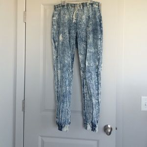 Pants - blue and white joggers