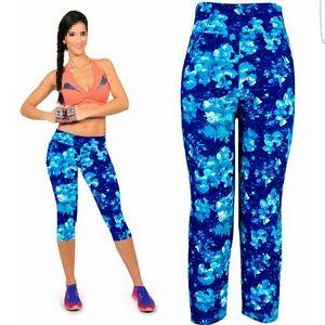 Blue floral leggings - great gym wear