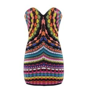 Shakuhachi Dresses & Skirts - Shakuhachi Psych Rainbow Crochet Bustier Dress S