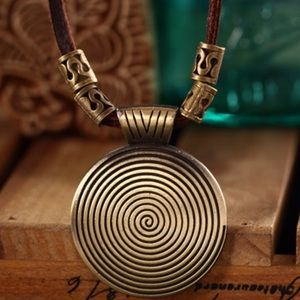 Jewelry - Vintage Long Genuine Leather Medallion Necklace