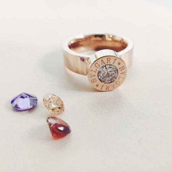 7bd655fa4 Bulgari Jewelry | Rose Gold Ring With Cz Stones | Poshmark