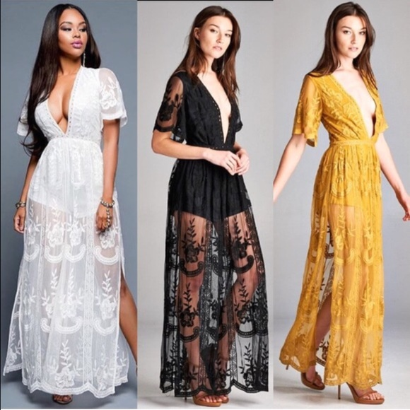d3e3aaef8594 Sexy lace maxi dress with romper