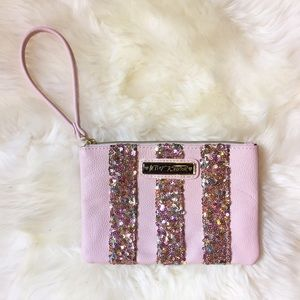 Betsey Johnson Handbags - Betsey Johnson Pink Sequin Stripe Wristlet