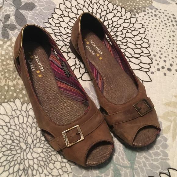 79 Off Skechers Shoes Skechers Leather Open Toe Flats