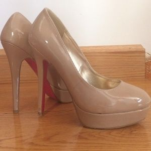 Shoe Dazzle Shoes - nude patent leather pumps