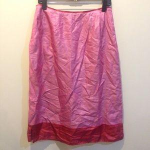 Anthropologie Pink & Red Silk Skirt