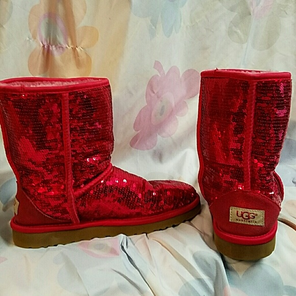 d9168674f99 Red sequin Ugg boots!