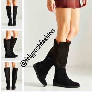 Urban Outfitters High Wedge Black Suede Boot