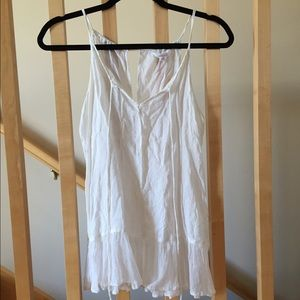 White Nordstrom, Sun and Shadow strapped tank.