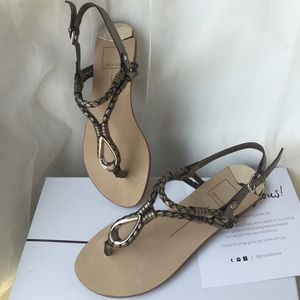 NIB $80 dolce vita 'dixin' silver sandal thong 6