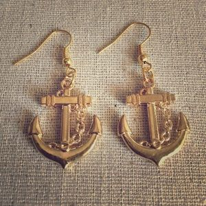 Nautical Goldtone Anchor Statement Earrings