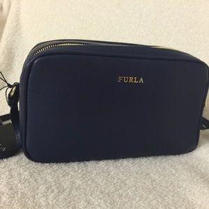Furla double zip crossbody bag - blue