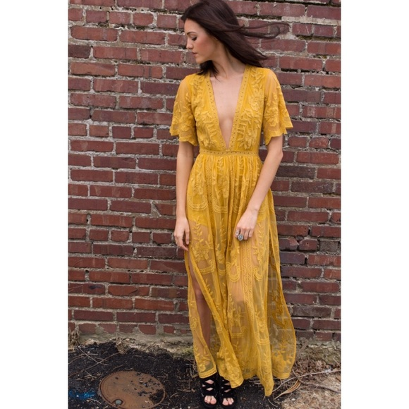 4600513166ff Chloe Embroidered Lace Maxi 💛. Boutique. Honey Punch