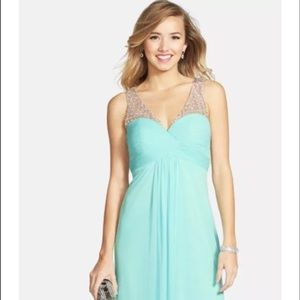 XSCAPE BEADED RUCHED BODICE MESH GOWN ICY MINT