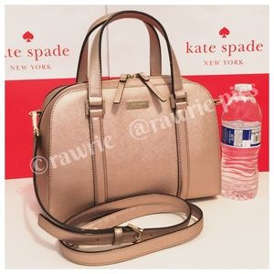 New Kate Spade rose gold saffiano leather satchel