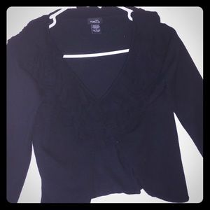 Black ruffled cardigan