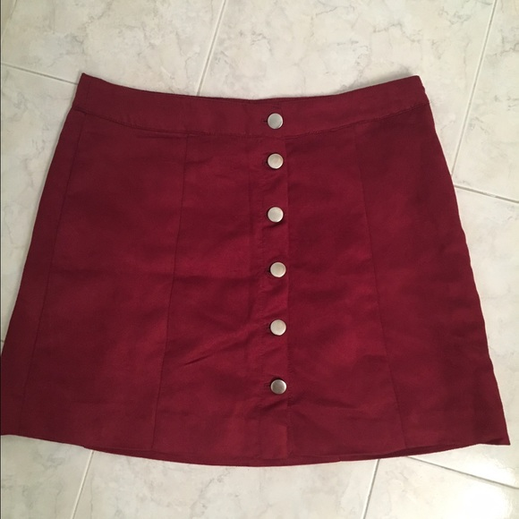 12% off H&M Dresses & Skirts - Red high waisted Suede like button ...